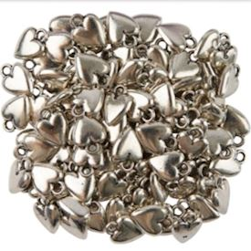 Antique Silver Finish Hearts 10mm X 15mm