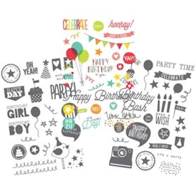 "Let's Party Clear Stickers 4""X6"" Sheets 3/Pkg"