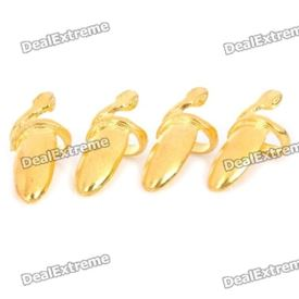 Stylish Finger Decoration Nail Ring - Golden