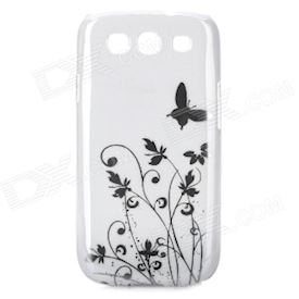 Elegant Flower and Butterfly Pattern Protective Case for Samsung Galaxy S3 i9300 - White + Silver
