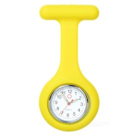 Silicone Brooch/Lapel Nurse Quartz Watch - Yellow