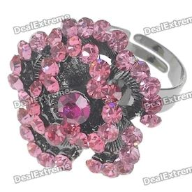 Pretty Austrian Crystal Rose Ring (Pink Topaz)