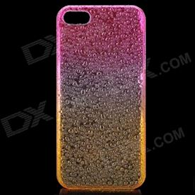 Raindrop Pattern Protective ABS Back Case for iPhone 5 - Transparent Deep Pink + Orange
