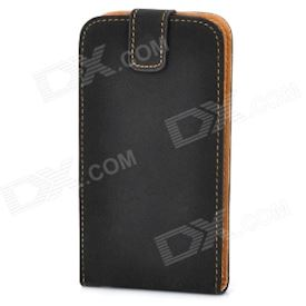 Protective ABS + PU Leather Flip-Open Hard Case for Samsung i9300 Galaxy S3 - Black