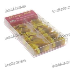 Glittery Yellow French False Nail Tips (70 piece)