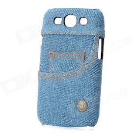 Jeans Pocket Pattern Protective ABS Case for Samsung Galaxy S3 i9300 - Blue + Black