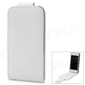 Protective PU Leather Top Flip-Open Case for iPhone 5 - White