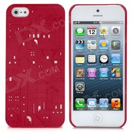 Bump Castle Pattern Protective Plastic Back Case for iPhone 5 - Red