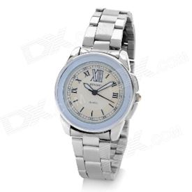 DINIHO Lady's Stainless Steel Round Dial Quartz Waterproof Wrist Watch - White + Silver