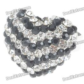 Pretty Austrian Crystal Heart Cut Ring (Black)