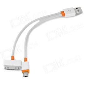 2-in-1 USB Male to Micro USB / Apple 30-Pin Cable - White (18cm)