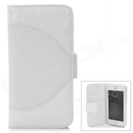 Crocodile Embossed Pattern Protective PU Leather Flip Open Case for iPhone 5 - White