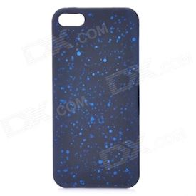 Protective Matte ABS Back Case with Dots for iPhone 5 - Black + Blue