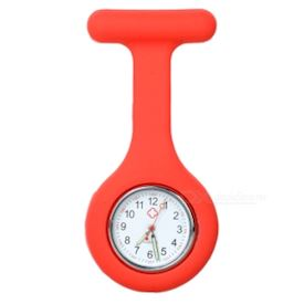 Silicone Brooch/Lapel Nurse Watch - Red