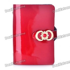 Stylish Matte PU Leather Card Holder - Red (Holds 24-Piece)