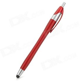 2-in-1 Capacitive Touch Screen Stylus Pen w/ Ballpoint Pen for Cell Phone - Red + Silver