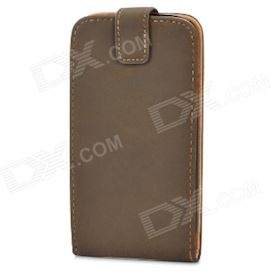 Protective ABS + PU Leather Flip-Open Case for Samsung i9300 Galaxy S3 - Brown + Black