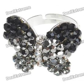 Pretty Austrian Crystal Butterfly Cut Ring (Black Onyx)