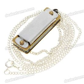 Mini 4-Hole 8-Tone Harmonicas with Necklace