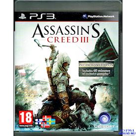 ASSASSINS CREED III EXCLUSIVE EDITION PS3
