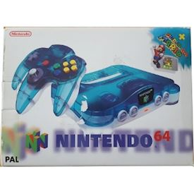 NINTENDO 64 CLEAR BLUE + SUPER MARIO 64 PACK