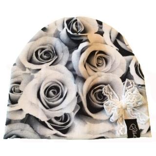 Hög mössa Svarta rosor, rosett